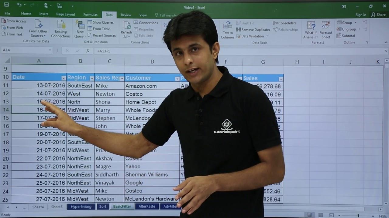 Download MS Excel - Filtering Data