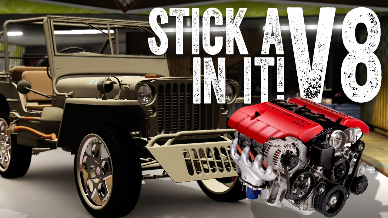 Willys Jeep V8 Conversion >> STICK A V8 IN IT! : Willys Jeep Supercharged V8 Conversion - YouTube