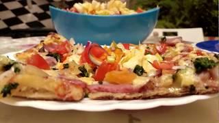 Как Приготовить пиццу на тонком тесте. За 15 минут. + легкий Салат