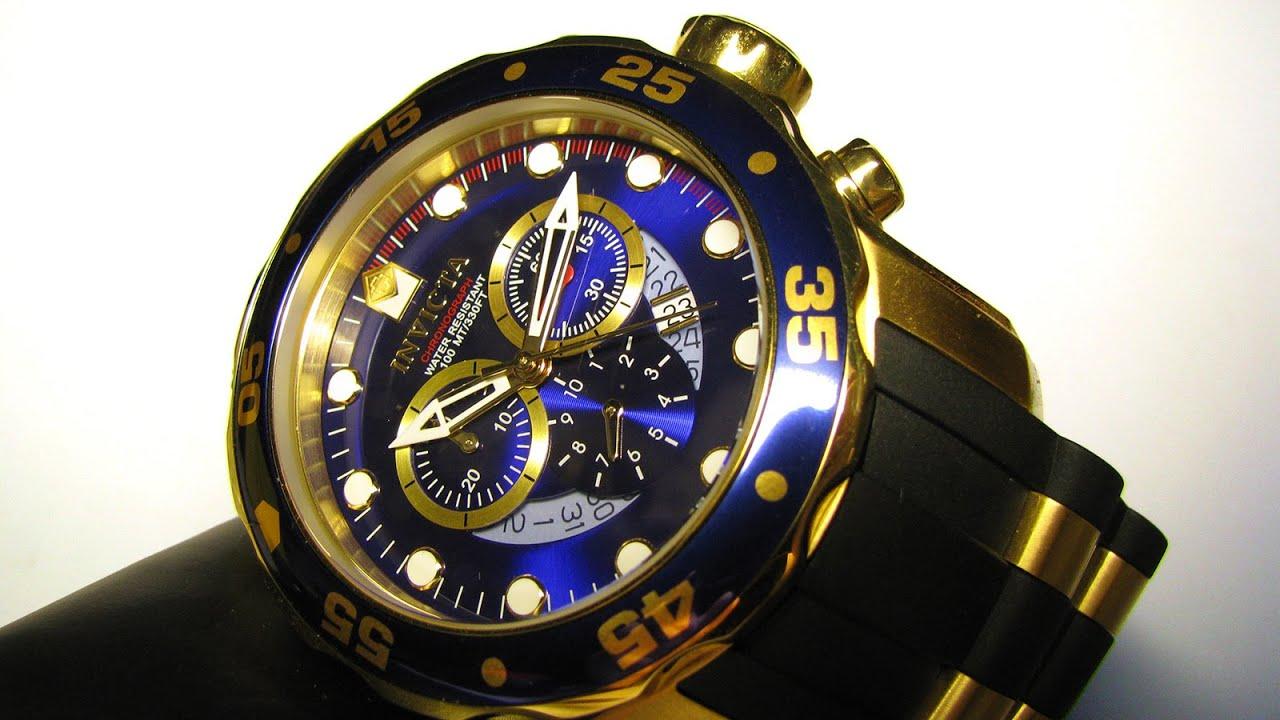 invicta 6983 pro diver chronograph blue 18k gold