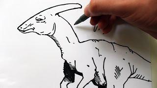 Como Desenhar um Parassaurolofo [Dinossauro] - (How to Draw Parasaurolophus) - DINOS #6
