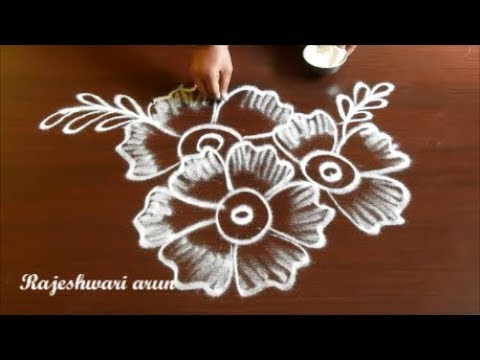 Simple Free Hand Flower Rangoli Designs Without Dots Small Flower