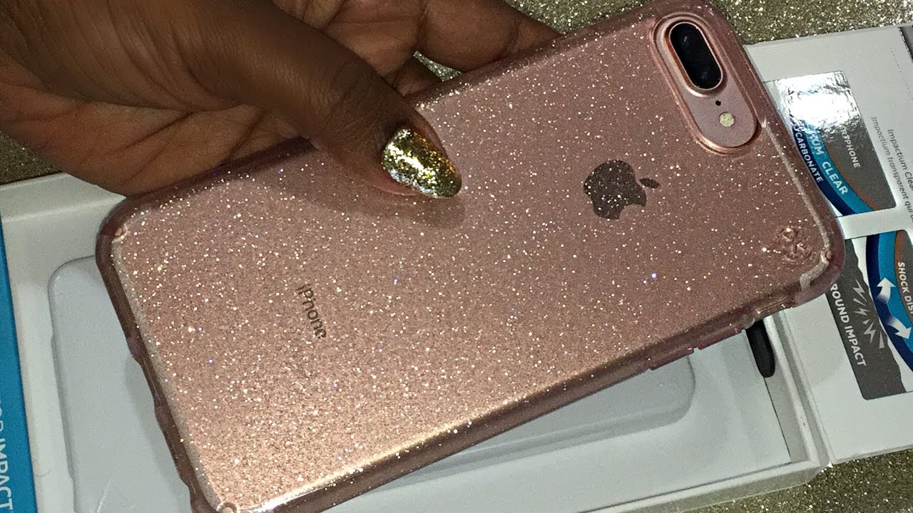 buy online 12cca 14160 Pink Speck Presidio Clear + Glitter Case for the iPhone 7 Plus