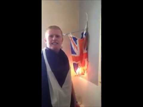 Scottish Nationalist burning Union Flag