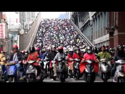 Rush hour traffic in Taipei city , capital of Taiwan.
