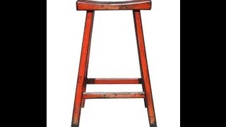 Rustic Orange Red Solid Wood Bar Stool F921