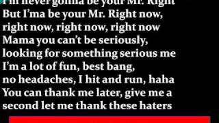 Pitbull Ft. Akon - Mr. Right Now Lyrics