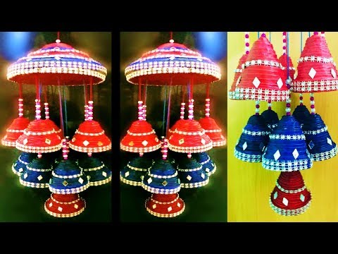 DIY Easy Newspaper Craft idea/ Newspaper hanging/JHUMAR/wind chime/ Best out of waste