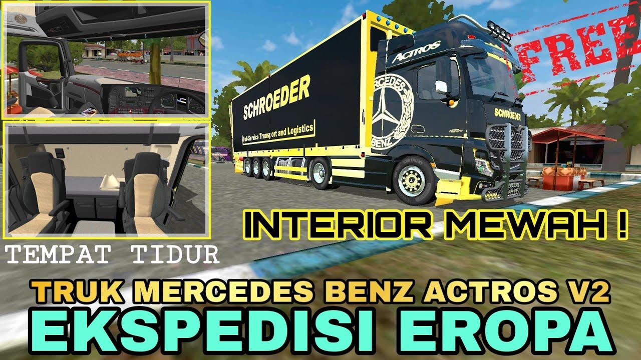 Mod Bussid Mod Truk Mercedes Benz Actros V2 Mewah Ada Tempat