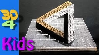 easy 3D drawing! draw Impossible Triangle step by step for kids