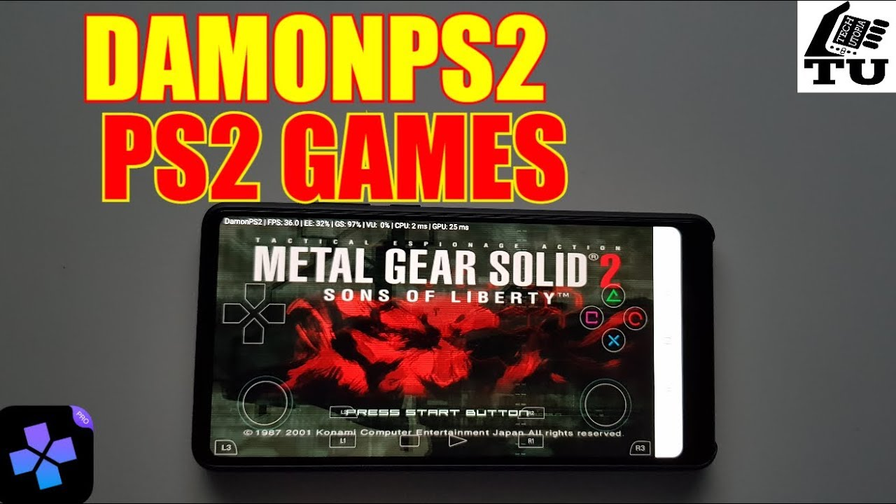 DamonPS2 Emulator test PS2 Games Metal Gear Solid 2 and Killzone Android  phone (BUG/GLITCH/Freeze)