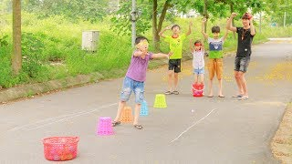 Kids play Game Find the ball by Blindfold Avoiding Obstacles Johny Johny Yes Papa Children Songs