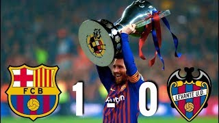 Lionel messi climbed off the bench to score goal that won la liga title for barcelona, after they saw of levante by a nil at camp nou on ...