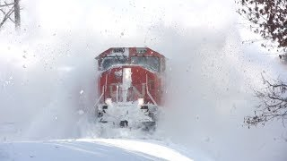 Epic train and snow plowing action in Minnesota