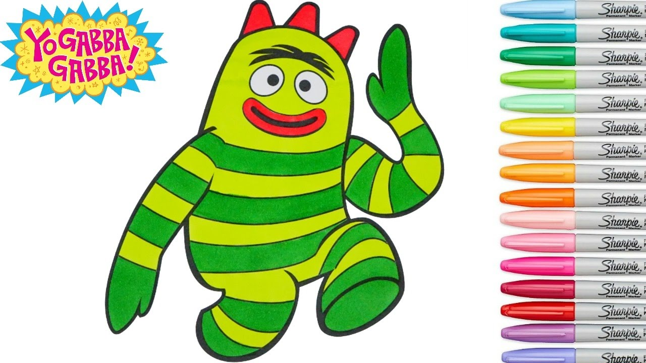 Yo Gabba Gabba Coloring Book Brobee Colouring Pages Youtube