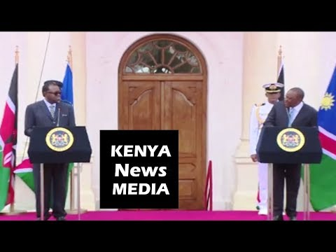 President Uhuru Kenyatta and Hage Geingob of Namibia PRESS BRIEFING at State House!!!