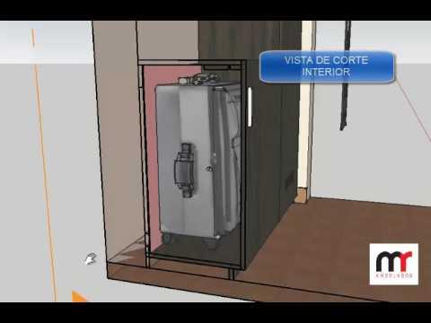 Mueble empotrado de dos columnas melamina de 18mm youtube for Mueble horno empotrado