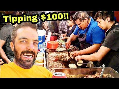 STUFFING My Face With TACOS!! – EXTREME Mexican Street Food & Tipping $100 dollars in MEXICO