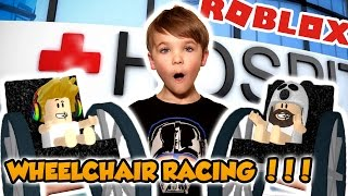 Crazy Wheelchair Racing Challenge in Roblox Hospital ! Move out of the way !