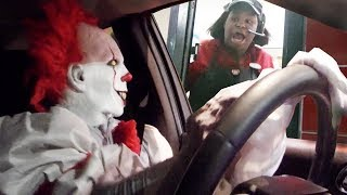 Drive Thru Killer Clown Prank 2017 IT Halloween Costume