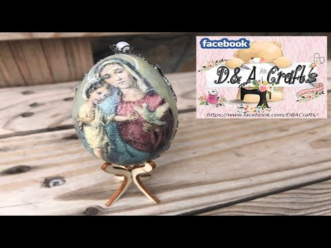 DIY: How to make decoupage and decoration on wooden egg for Easter TUTORIAL
