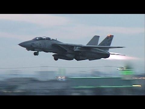 F-14 TOMCAT  Full Afterburner Take off  1996   [Long]
