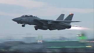 F-14 TOMCAT  Full Afterburner Take off  1996   [Long]