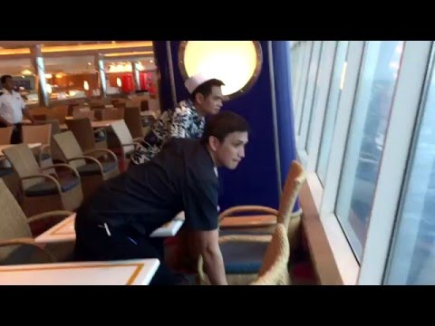 Royal Caribbean - Explorer of the seas 2015 cruise ship lean over in storm! 278 KMH Winds