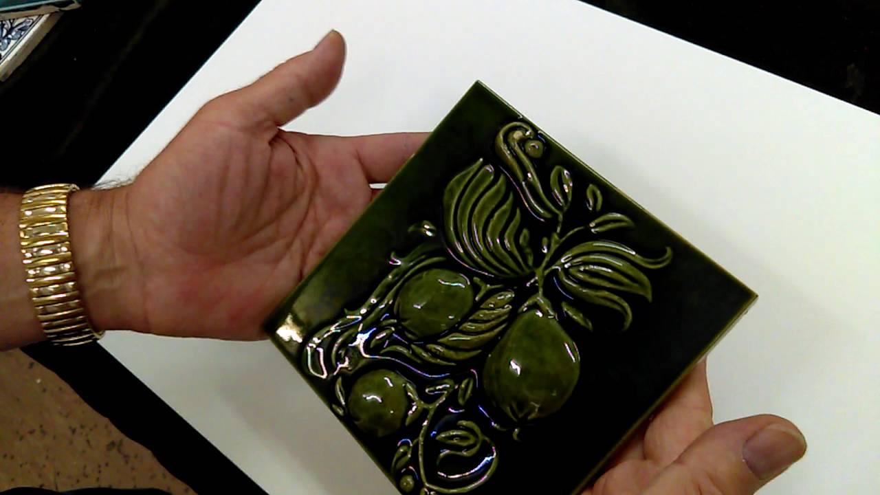 Fine arts crafts art nouveau green ceramic tile with high fine arts crafts art nouveau green ceramic tile with high relief fruit motif dailygadgetfo Images