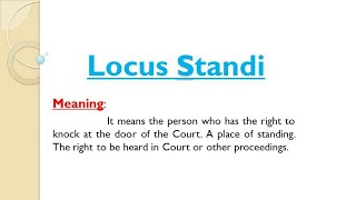 Locus Standi | Administrative Law | Law Slides
