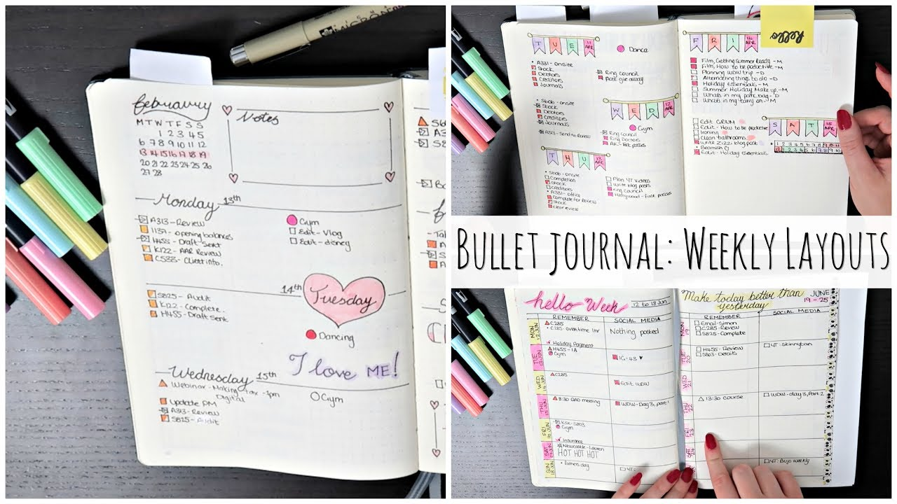 bullet journal weekly layout ideas aimee lodge youtube. Black Bedroom Furniture Sets. Home Design Ideas