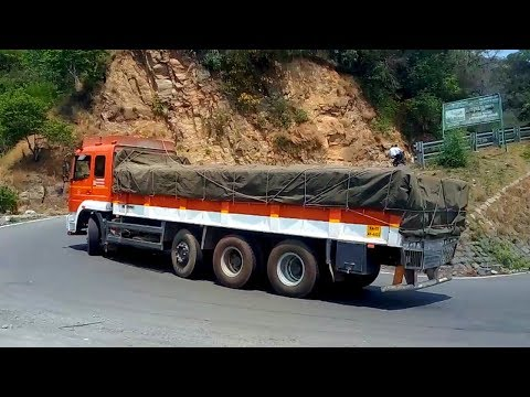 Eicher And Heavy Load Lorry Turning Hairpin Bend Hills Road