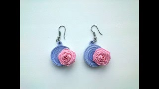Quilling Earrings Making:  How to make beautiful Quilling Earrings with roses. Paper Quilling Art