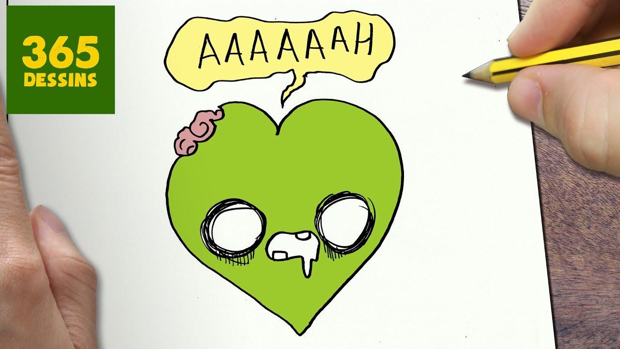 Comment Dessiner Coeur Zombie Kawaii étape Par étape Dessins Kawaii Facile
