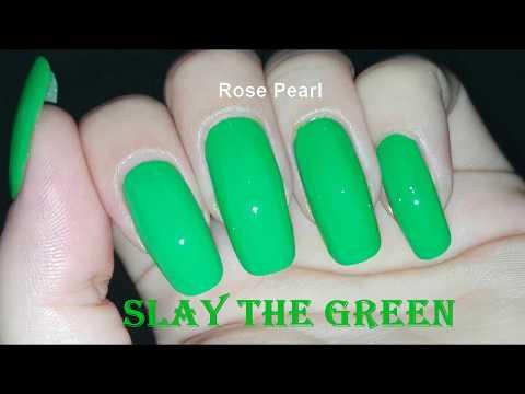 SLAY the Green Like a BOSS- Nail Tutorial | Rose Pearl thumbnail