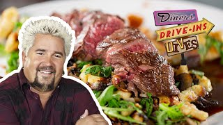 Guy Tries a Dangerous Hanger Steak Gnocchi (from #DDD) | Food Network