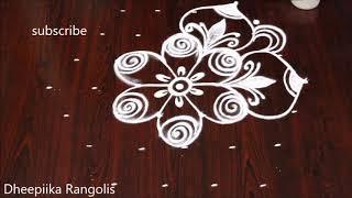 7 dots beautiful rangolis design for beginners //Sankranthi muggulu
