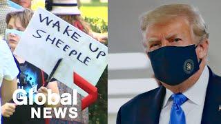 Coronavirus: Anti-mask protests in Canada while Trump promises no mandate in America