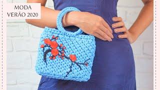 Bolsa de crochê com alça de argola - Fio de malha