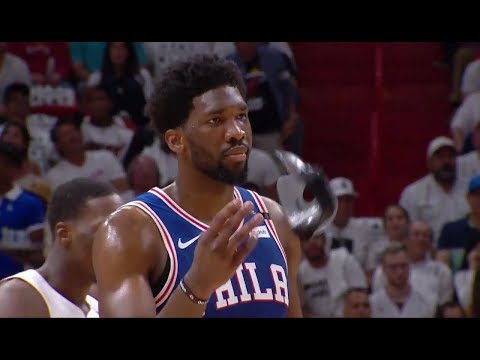 Justise Winslow Steps On Embiid's Mask | 76ers vs Heat - Game 3 | 2018 NBA Playoffs