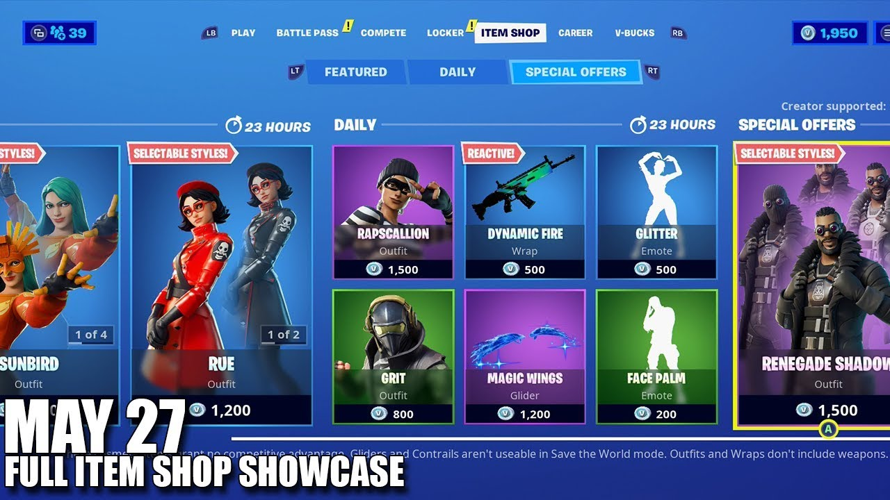Fortnite Item Shop May 26 27 2020 Fortnite Battle Royale Youtube Check daily item sales, cosmetics, patch notes, weekly challenges and history. fortnite item shop may 26 27 2020 fortnite battle royale