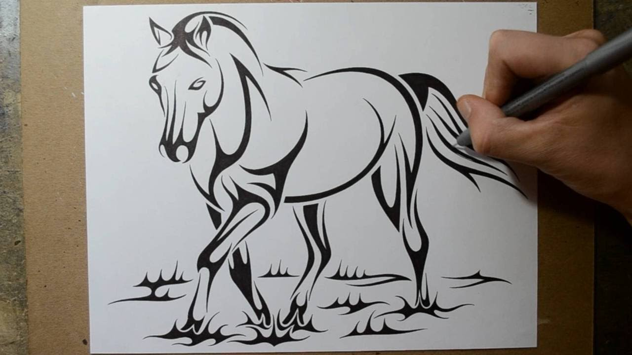 How To Draw A Horse  Tribal Tattoo Design Style