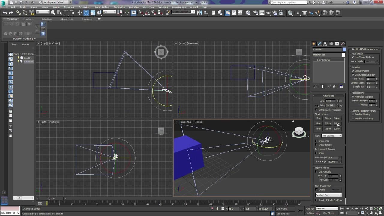 3Ds Max Camera Basics: Free Camera and Target Camera
