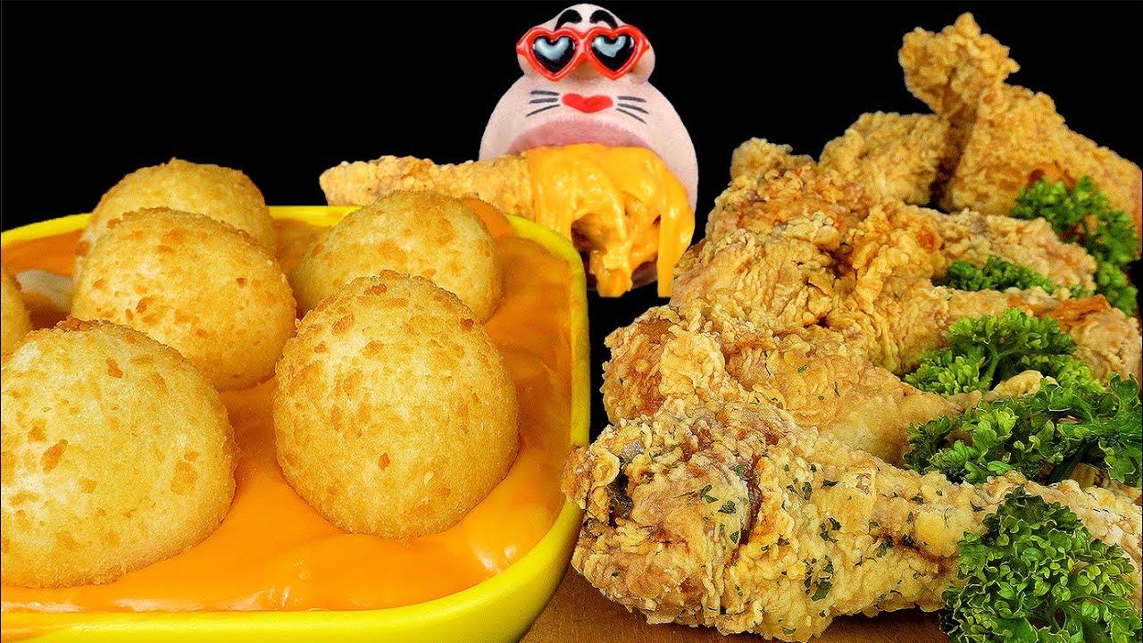 ASMR MUKBANG Cheddar Mozzarella Cheese Balls & Fried Cheese Chicken EATING SHOW (4K)