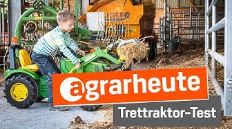 agrarheute-Test: Kind testet John Deere Spiel-Fuhrpark