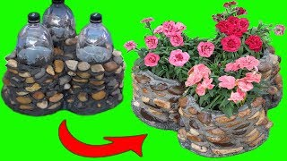 HOW TO MAKE CEMENT AND STONE POTS WITH PLASTIC BOTTLES - IDEAS CRAFTS FOR THE GARDEN