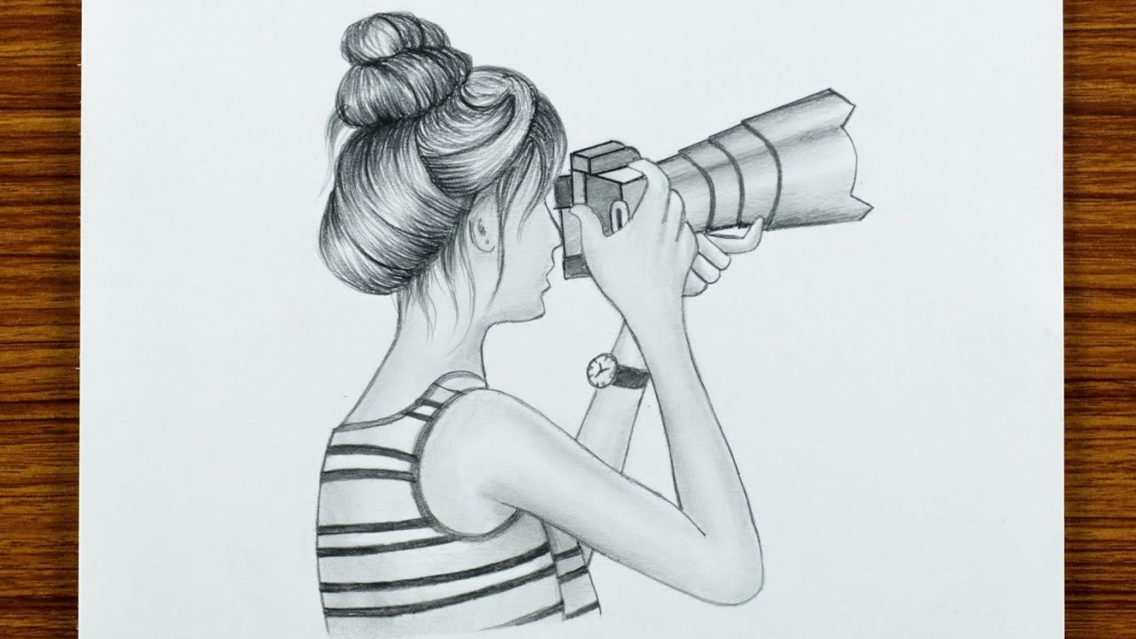 How to draw a girl with camera for beginners step by step l pencil sketch