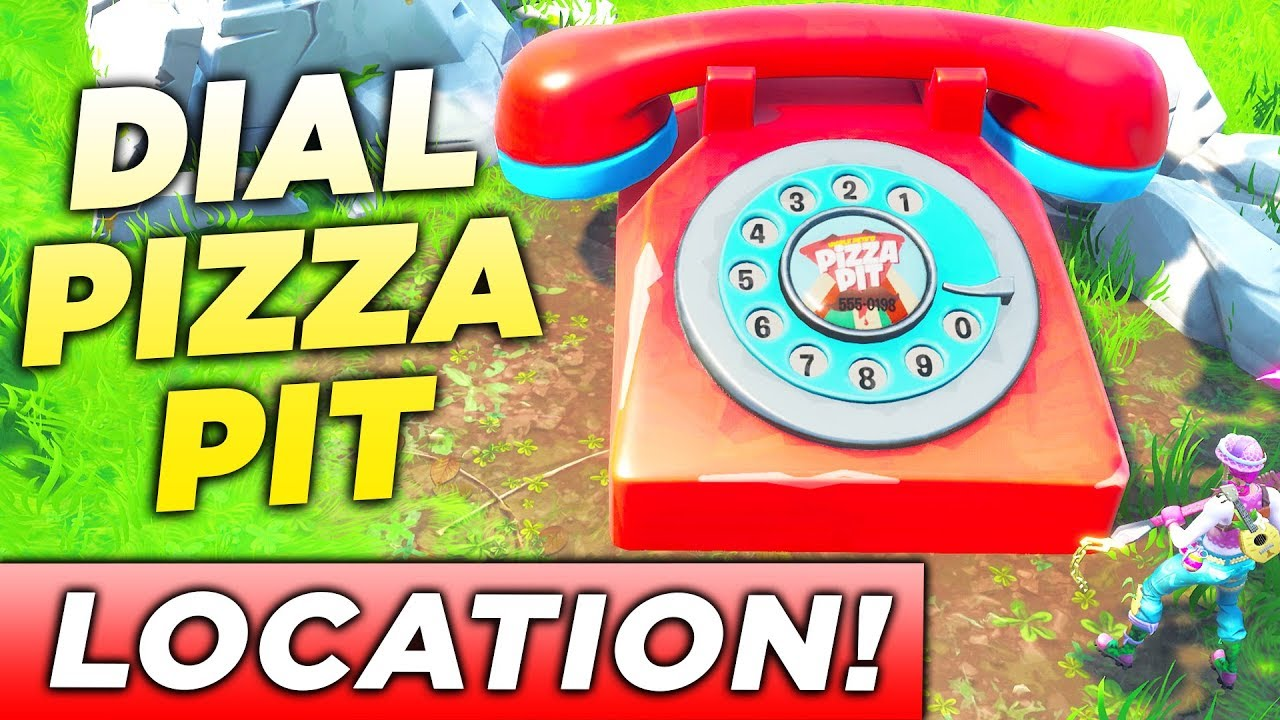 dial the pizza pit number on the big telephone east of the block location fortnite challenge - big telephone fortnite map