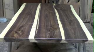 Rustic Timber Company: Wood Slabs In The Shop And A Finished Table Top