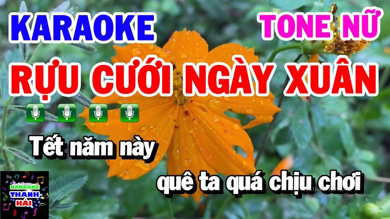 Karaoke Rựu Cưới Ngày Xuân | Nhạc Sống Cha Cha Tone Nữ Gm | Thanh Hải